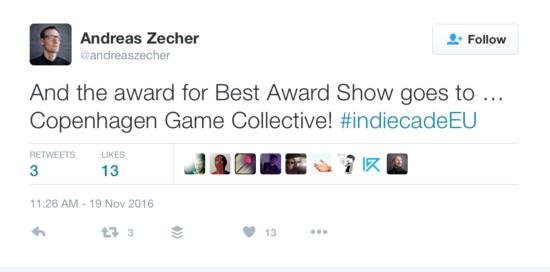 IndieCade Europe Award Show 2016 Twitter